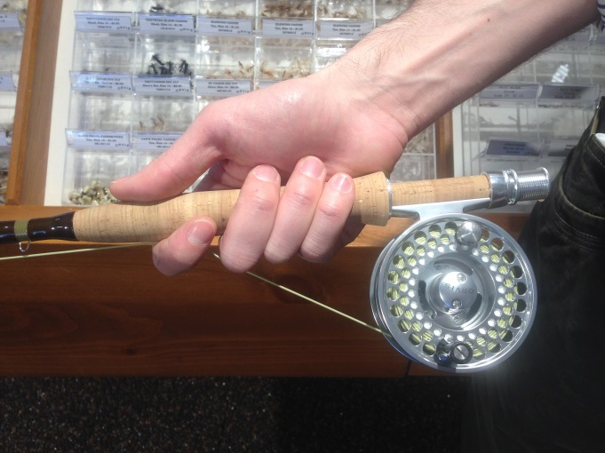 Line Held Tightly Between the Cork and The Anglers Index Finger